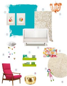 Modern + Bright Glam Nursery by Susan Hutchinson of Fleurishing for Baby Jives Co