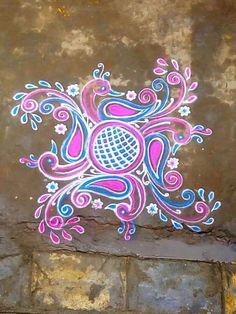Free Hand Rangoli Design, Rangoli Kolam Designs, Rangoli Designs Images, Rangoli Designs With Dots, Kolam Rangoli, Beautiful Rangoli Designs, Simple Rangoli, Mehandi Designs, Colour Rangoli