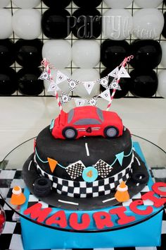 Race car birthday cake. #boy #birthday #party #cake.  How perfect for someone's 8th birthday to celebrate their first solo ride on our Go-Karts!