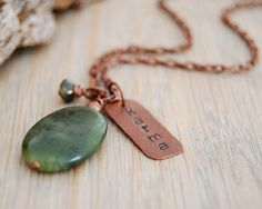 karma necklace - yoga necklace - heart chakra jewelry - jade pendant. $37.00, via Etsy.