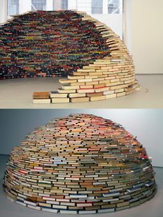 Book Igloo sculptural installation by Colombian artist Miler Lagos at MagnanMetz Gallery.  (This is colossal + nevver)