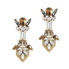 J.Crew - Golden crystal earrings  |  art deco inspired jewelry