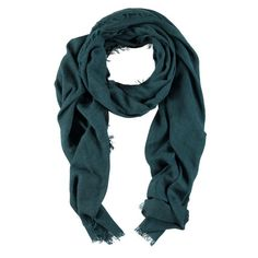 Petrolgroene zachte sjaal met rafelfranje