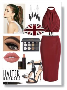"""""""Halter Dress: Contest Entry"""" by haybeebaby on Polyvore featuring Gianvito Rossi, Charlotte Russe, Lulu Guinness, Shany, Lime Crime, Lipstick Queen and halterdresses"""