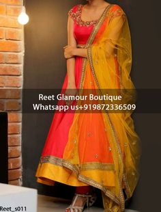 Phenomenal Orange Anarakali Dress Product Code : anarkali_011 To Order, Call/Whats app On +919872336509 We Offer Huge Variety Of Punjabi Suits, Anarkali Suits, Lehenga Choli, Bridal Suits,Sari, Gowns Etc .We Can Also Design Any Suit Of Your Own Design And Any Color Combination.