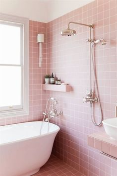 Are Wet Rooms Purely Aesthetic or the Most Practical Bathroom Design Ever? You Decide Are Wet Rooms Purely Aesthetic or the Most Practical Bathroom Design Ever? You Decide Pink Bathroom Tiles, Pink Tiles, Bathroom Colors, Bathroom Wall, Small Bathroom, Bathroom Ideas, Blush Bathroom, Remodel Bathroom, Colorful Bathroom