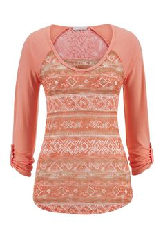 ethnic print lace back top - maurices.com