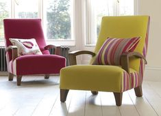 Vintage chairs with new fabric.