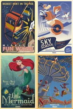 There are good color schemes within each individual poster and contrast. It is advertising one of the greatest companies in the world, Disney. Vintage Disney Posters, Retro Disney, Disney Love, Disney Cruise, Disney Parks, Poster Retro, Poster Art, Disney California Adventure, Disney Cartoons