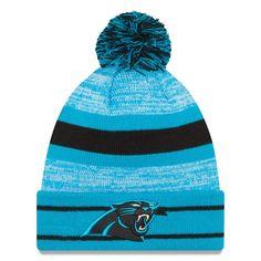 9f65d7346 Men s Carolina Panthers New Era Blue Team Logo Cuffed Knit Hat with Pom