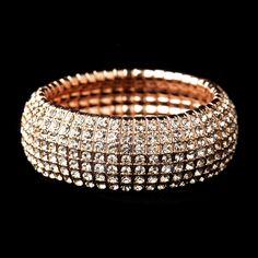 So pretty!  Rose Gold Stretch Bracelet with Clear Rhinestones - Affordable Elegance Bridal -
