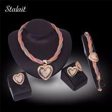 Novo Ouro Africano Dubai Conjunto de Jóias de Cor Nigéria Moda Strass Pingente de Coração conjunto de Jóias alishoppbrasil