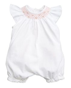 Embroidered Ruffle-Trim Bubble Playsuit, White, Size 3-18 Months by Ralph Lauren Childrenswear at Neiman Marcus.