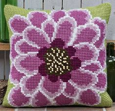 Cross Stitch Kits Twilleys - In Full Bloom - Cross Stitch Cushion Front Kit large count - Cross Stitch Cushion, Cross Stitch Rose, Cross Stitch Flowers, Cross Stitch Kits, Cross Stitch Charts, Cross Stitch Designs, Cross Stitch Patterns, Diy Embroidery Kit, Hand Embroidery Videos