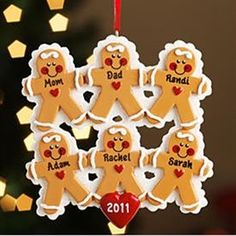 Personalized Christmas Ornaments. Gingerbread Family Ornaments (6)