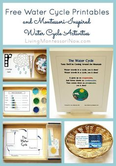 Roundup of free water cycle printables plus Montessori-inspired water cycle activities created with free printables - for preschoolers through first graders