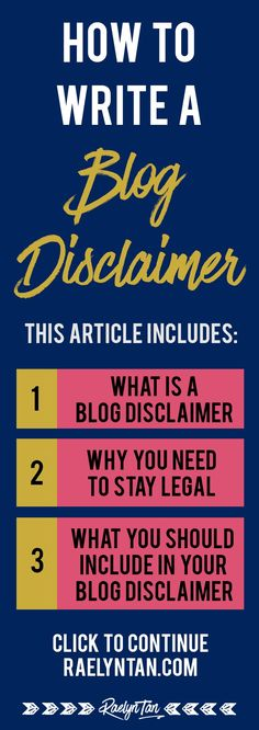 How to write a blog disclaimer: What you MUST include in your website disclaimer to stay legal and safe. (Tips from an attorney, yay!)