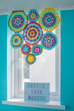 Bright And Colorful Crochet Mandala Window Blind