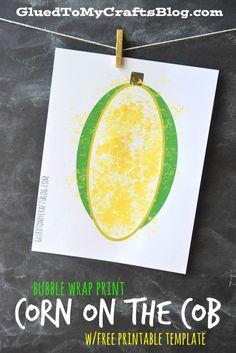 Bubble Wrap Corn on the Cob w/free printable template