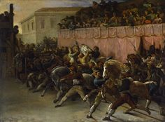 """Théodore Géricault: """"Riderless Racers at Rome"""", Walters Art Museum - Baltimore (United States - The Athenaeum Rome Painting, Jean Leon, Barbary Coast, Spring Carnival, Classical Antiquity, England, City Streets, North Africa, Horse Racing"""