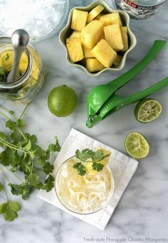 This fresh-style margarita is bursting with pineapple and cilantro flavors. An unexpected combination that is thirst quenching and light. Tequila, Triple Sec, Agave Nectar, Cilantro and Lime. Cocktails For Parties, Fun Drinks, Yummy Drinks, Beverages, Summer Cocktails, Party Drinks, Mixed Drinks, Pineapple Margarita, Pineapple Juice