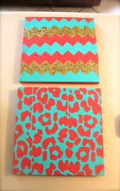 chevron and leopard but with different colors get supplies probably from michaels get painting canvas boards