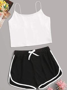 Shein Cami Top With Contrast Binding Shorts PJ Set , - Shein Cami Top With Contrast Binding Shorts PJ Set , Source by - Pajama Outfits, Crop Top Outfits, Mode Outfits, Cute Lazy Outfits, Teenage Outfits, Outfits For Teens, Girls Fashion Clothes, Summer Fashion Outfits, Cute Pajama Sets