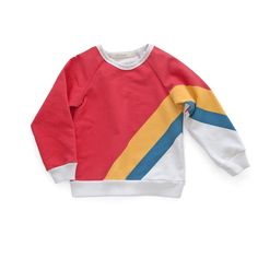 """Kid & Kind -Olympic Stripe Sweatshirt  Kid & Kind are a young Chicago based designer making stylish, unisex,  graphic garments. This season's title is """"Day Camp"""", inspired by the  uniforms of youth and the importance of play day camp features comfortable  styles ready for adv"""
