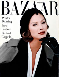 Christy Turlington by Patrick Demarchelier for Harper's Bazaar, 1992 brow game, magazin cover, christy turlington, favorit magazin, christi turlington, october, magazin imag