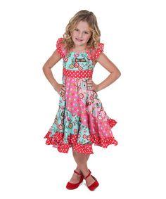 Look at this #zulilyfind! Hot Pink & Teal Love Birds Flo Dress - Infant, Toddler & Girls #zulilyfinds