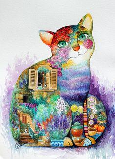 Beautiful Pronence cat by oxana zaika | ArtWanted.com