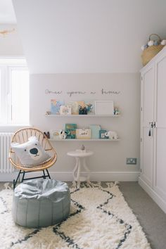 Baby Boy Nurseries - Nursery Reading Corner With Ikea Painted Ledges And Once Upon A Time Wire Sign - Image By Adam Crohill. Pale Grey, Neutral Nursery With Subtle Blush, Blue And Mustard Accents Nursery Reading, Nursery Room, Kids Bedroom, Reading Nooks, Ikea Nursery, Nursery Decor Boy, Nursery Signs, Baby Bedroom, Baby Decor