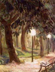 """Józef Mehoffer (Polish 1869-1946)  - """"Olej na dykcie (Planty Park)"""", 1898, 44.5 x 34.5 cm  National Museum in Warsaw."""