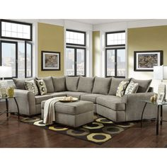 Looking to create a warm and welcoming living room that everyone can enjoy? Then look no further than the Vail sectional and ottoman. Adorned in the soft platinum fabric material, this sectional sofa is large and in charge. Sporting a unique curved L Curved Sectional, Sectional Ottoman, Cuddler Sectional, White Sectional, Grey Couches, Living Room Sofa, Living Room Furniture, Living Room Decor, Sofa Furniture