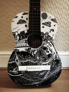 CUSTOM SERVICE Hand Painted Acoustic Guitar, Custom Painted Guitar, Illustrated, Personalised, Unique Guitar, Guitar Sculpture Wall Art