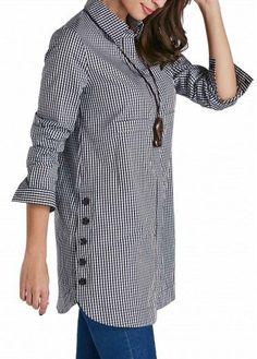 Button Up Plaid Print Turndown Collar Curved Shirt - Damen Mode 2019 Kurta Designs, Blouse Designs, Hijab Fashion, Fashion Dresses, Gingham Shirt, Mode Hijab, Indian Designer Wear, Stylish Dresses, Cheap Dresses