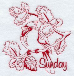 Machine Embroidery Designs at Embroidery Library! - Sunday Cardinal (Redwork)