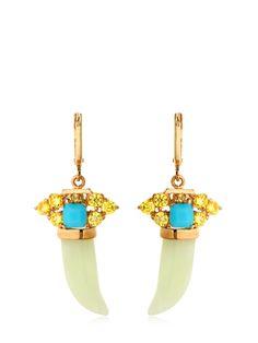 Iosselliani Horn-shaped Jade Pendant Earrings In Gold/green Jade Pendant, Pendant Earrings, Iosselliani, Horns, Sapphire, Turquoise, Jewels, Shapes, Green