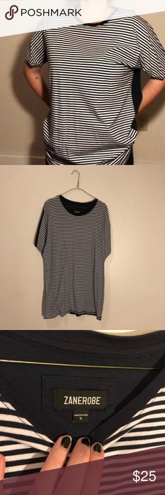 Men's zanerobe striped t-shirt This is a amazing shirt, super soft in perfect condition. Great gift for a boy friend or loved one or if your like me and love the androgynous look. I once wore this as a dress with tights combat boots and a camo jacket and it was a LOOK!  Always open to negotiation.....,. if it's reasonable  #shirt #Stripes #streetwear #style #fashion Tops Tees - Short Sleeve