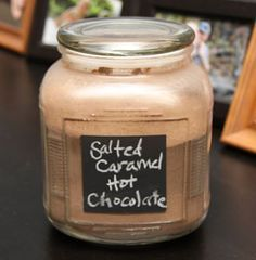 Salted Caramel Hot Chocolate Mix 2 1/2 cups white sugar 3 Tbs vanilla 1 1/2 cups cocoa powder 1 cup dry milk powder 3/4 cup packed brown sugar 2 Tbs coarse sea salt (could use more or less to taste) 200-250g (~7-10 oz) chocolate bars (dark, semi-sweet, milk--or mix it up!)