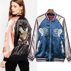Embroidery Satin Fish Baseball Bomber Jacket Coat Pilots Slim Outerwear Top Blue
