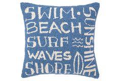 Surfer's Paradise 16x16 Pillow, Blue on OneKingsLane.com