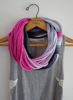 String Theory...Multi string infinity scarf in ombre of black and pink via Etsy.