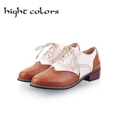 New 2018 Spring Round Toe Flat Brogue Oxford Shoes For Women Plus Size 34-43 cb11d2c25b96