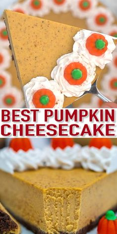 Pumpkin Cheesecake is super flavorful and delicious with just the right amount of pumpkin flavor. It is the best dessert you can have on your Thanksgiving table. desserts Pumpkin Cheesecake Recipe - Sweet and Savory Meals Pumpkin Cheesecake Recipes, Pumpkin Recipes, Fall Recipes, Holiday Recipes, Köstliche Desserts, Dessert Recipes, Bon Dessert, Thanksgiving Desserts, Thanksgiving Games