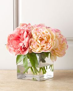 I just love the look of big, fluffy peonies in a glass cube vase. Petite Peony Faux Floral by John-Richard Collection at Neiman Marcus. Paying for the quality. Some artificial flowers you can tell are fake right away. This looks realistic. Faux Flowers, Fresh Flowers, Silk Flowers, Beautiful Flowers, Exotic Flowers, Flowers Garden, Purple Flowers, Fabric Flowers, Table Flowers