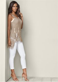 Shop Crochet Fringe Sweater from VENUS to keep you warm and stylish in cooler climates. Crochet Tunic Pattern, Crochet Cardigan, Crochet Skirts, Crochet Clothes, White Capri Outfits, Pullover Upcycling, Crochet Fringe, Fringe Sweater, Cute Comfy Outfits