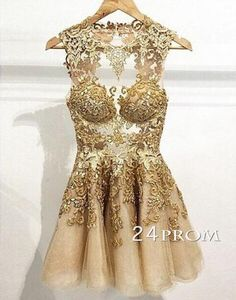 prom dresses A=line Charming champagne Lace Short Prom Dresses, Homecoming Dresses