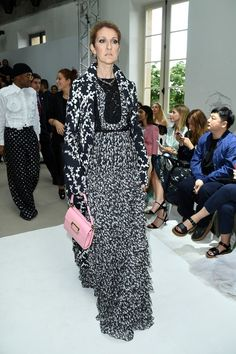 Celine Dion Print Dress - Celine Dion made a grand entrance at the Giambattista Valli Couture show wearing a tiered black-and-white gown from the label.