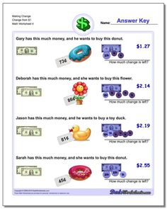 Making change worksheets for grade school kids to practice working with money. Free printable PDFs with realistic money and answer keys. Free Printable Math Worksheets, Money Worksheets, Worksheets For Kids, Making Change Worksheets, Basic Math, Make A Change, Math Facts, Exercise For Kids, Word Problems